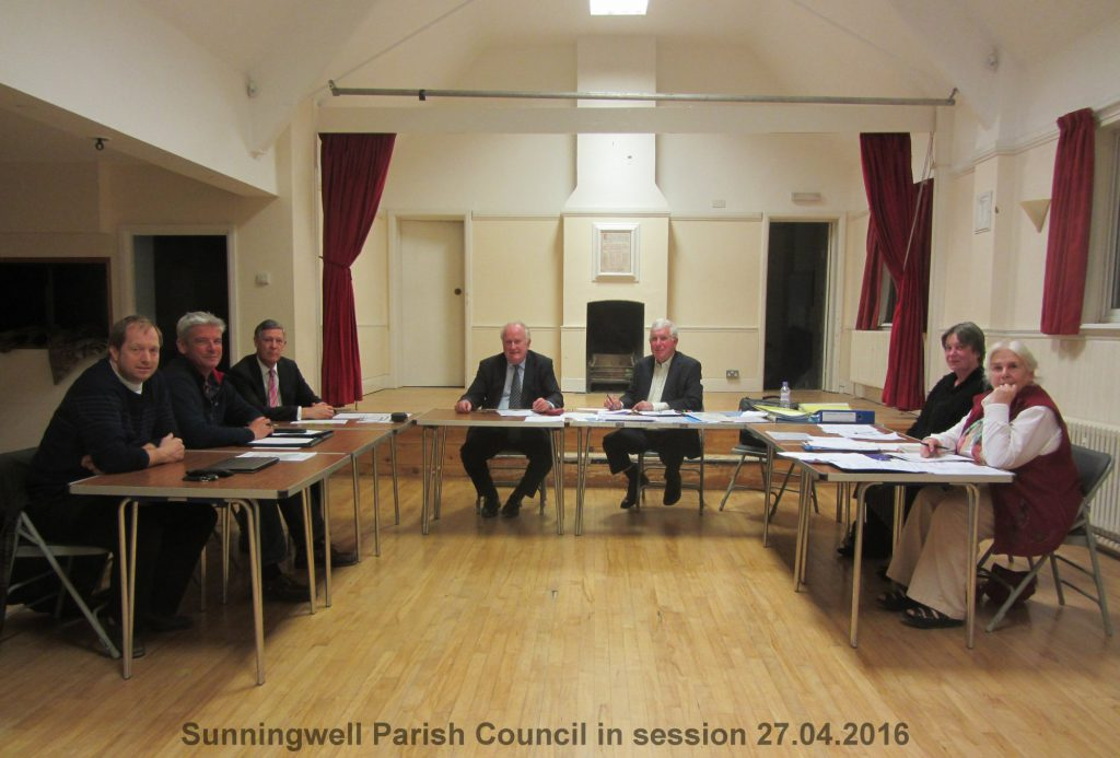 Sunningwell Parish Council in session 27.04.2016 L to R: James Greenman, Andrew Veal, Colin Weyer, Paul Wooldridge (Chairman), Brian Rixon (Parish Clerk), Hilary Lynam-Smith and Elizabeth Bennett. (absent: Oliver Isaacs). Following the Annual Meeting of the Parish Council on 13th May 2019, the Chairman is now Colin Weyer and the Vice Chairman is Oliver Isaacs.