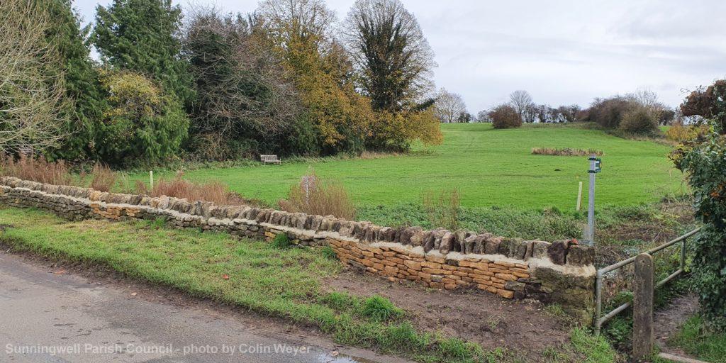 Sunningwell Village Green wall after repair by SPC November 2020